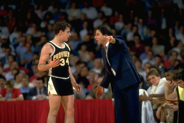 College Basketball: NCAA Playoffs: Providence coach Rick Pitino with Billy Donovan (34) on sidelines during game vs Georgetown. Louisville, KY 3/21/1987 CREDIT: Carl Skalak (Photo by Carl Skalak /Sports Illustrated/Getty Images) (Set Number: X34571 )